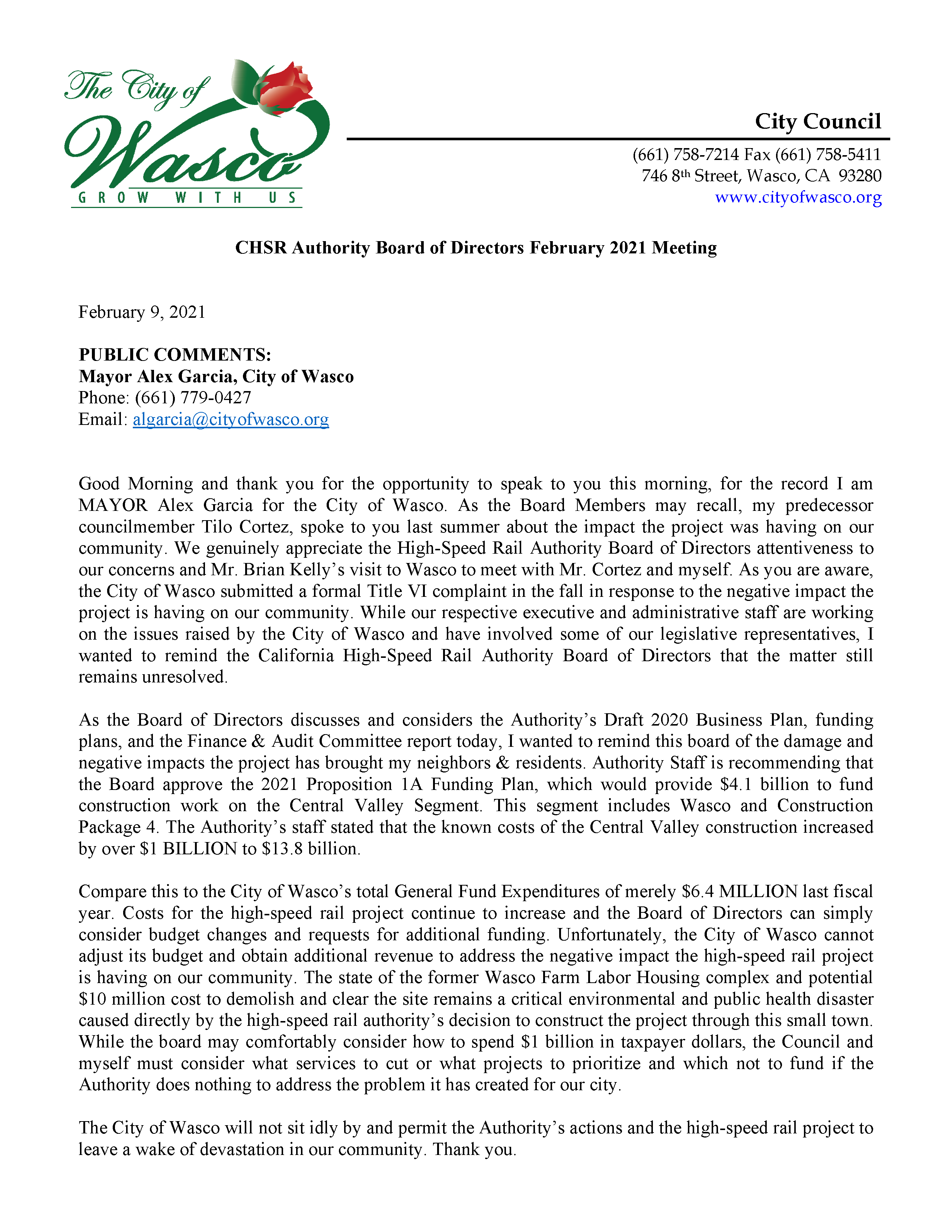 8 HSRA BoD_Wasco Mayors Public Comments 02092021 Opens in new window